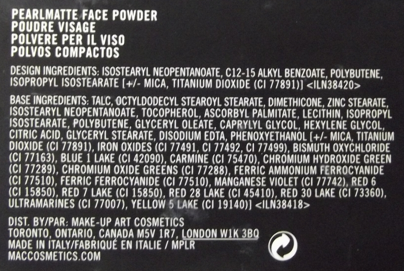 PearlMatte Face Powder Mac ingredientes