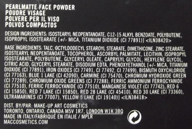 PearlMatte Face Powder Mac ingredientes